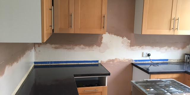 Artex Removal and re-plaster of kitchen wall in Edgeley