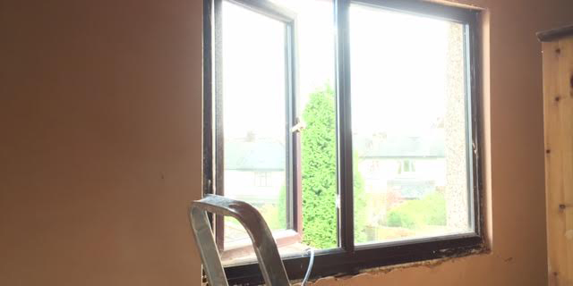 Re-plaster and building repairs in Sheffield bedroom