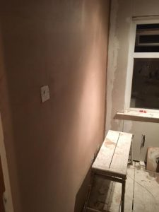 plastered wall of box room in Cheadle